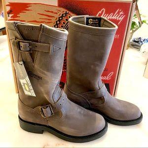 Chippewa Raynard Harness Gray Leather Boots Sz 5.5